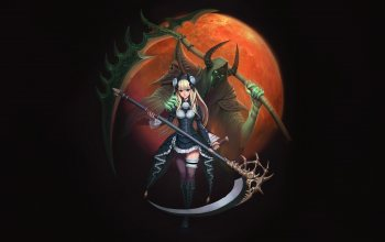 арт,girl,death,minimalism,fantasy,style,#moon,illustration,Hyeon Gwan Nam,reaper,scythe,character,figure