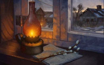 illustration,Window,painting,Lamp,арт,still life photography,houses,branches,newspaper,homes,4k uhd background