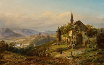 Peter Joseph Minjon,Romantic Rhine landscape,Питер Джозеф Минион,German painter,Romantische Rheinlandschaft,oil on canvas,Романтический Рейнский пейзаж,немецкий живописец