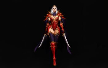 illustration,armor,background,figure,fantasy,Maxi Hoy,арт,daggers,Red Assassin,girl,style,character