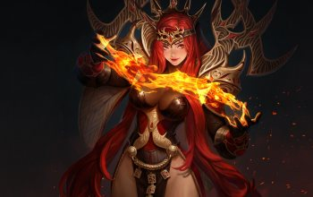 fantasy,fanatsy,character,Hundred Soul,арт,Oh Jinwook,spell,minimalism,fire,background,girl,style,armor,illustration