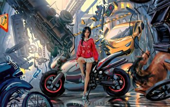 brunette,motorcycle,Concept Art,traffic light,fantasy,carriage,car,artwork,train,Cyberpunk,Science Fiction,city,wlop,futuristic,game,digital art,civilization,girl,fantasy art,horse,miniskirt,Sci-Fi
